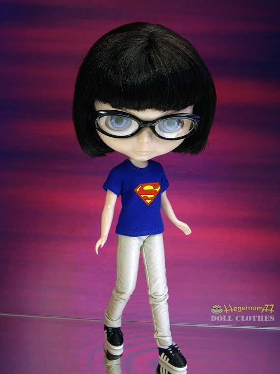 Superman doll T shirt for: Blythe, Licca, Monster High, Dal...