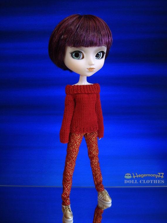 Barbie Pullip Momoko J doll 27 cm Obitsu doll size hand knitted sweater