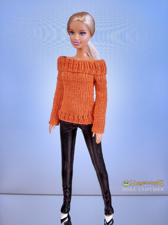 Hand knit doll sweater for: Fashion Royalty, Barbie...