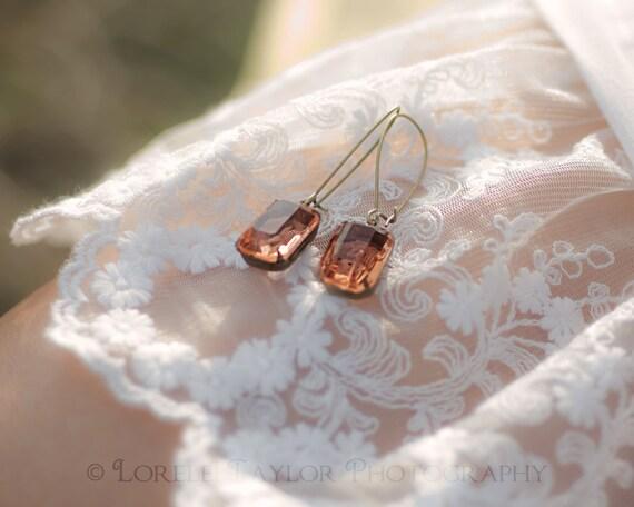Champagne Peach Earrings | Brass Earrings | Emerald Cut Sheer Vintage Glass | Bridesmaids Earrings | Wedding Jewelry | Cocktail Earr