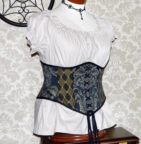 """Patchwork Victorian Steampunk Waspie Corset - Deluxe - Black, Gold, & Cream - Fits Waist 32.5""""-35"""""""