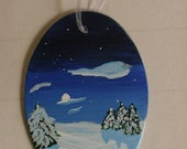 Winter Ornament - Handpainted glass ornament, winter decor, full moon, night, stars, snow and trees