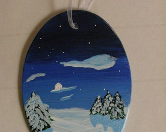 Winter Ornament - Handpainted glass Christmas ornament, winter decor, glass art, original art, winter landscape painting