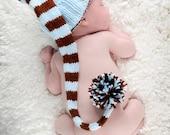 Newborn hand knit long tailed stocking cap with pom pom (custom) FREE US SHIPPING