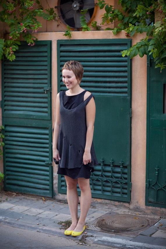 Little black knitted tunic dress - 007