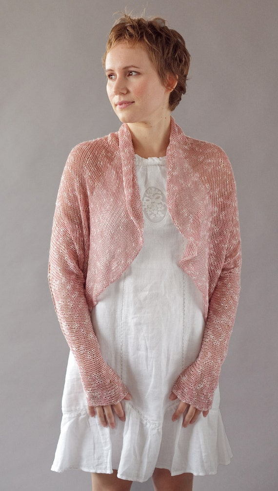 Versatile pink knitted shrug - Up-side-down cardigan - A154
