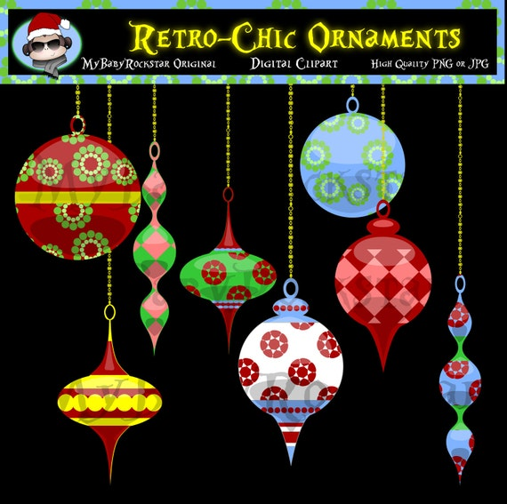 Christmas Clip Art - Retro Chic Ornaments Christmas Clipart - Holiday Graphics - High Quality - Personal, Commercial, and Educational Use
