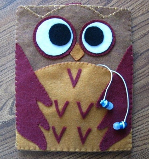 Cute and Kooky Owl Felt Case for iPad  (Custom Color & Size Available)