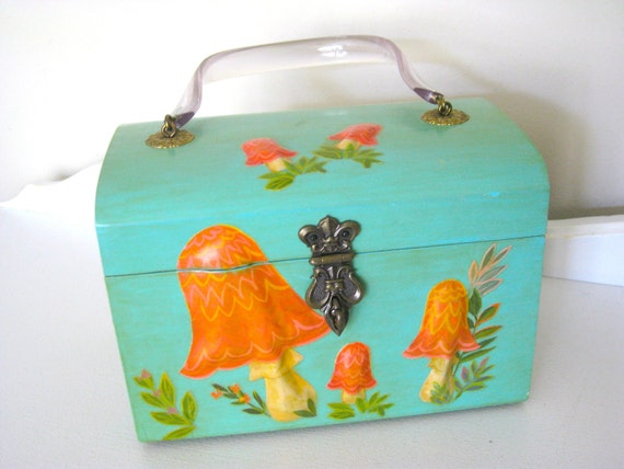 Vintage Box Purse - Mod Mushrooms - Turquoise - 60's - NehiandZotz