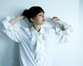 White Blouse / Shirt with Ruffle Sleeves Oversized