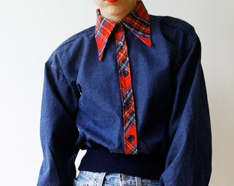 80s Denim Shirt with Plaid Collar and cuffs, Bomber jacket style