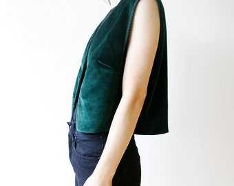 90s Velvet Vest Green Embroidered Hippie Boho Vest Top Small XS medium