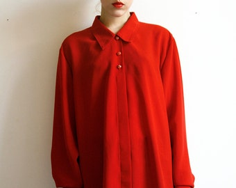 Sheer Red blouse Slouchy Oversized 80's medium