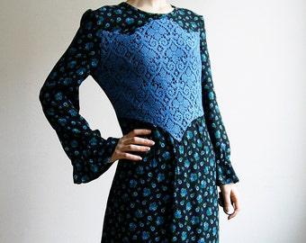 70s Floral Maxi Dress w/ Crochet Bustier long sleeves Ruffles