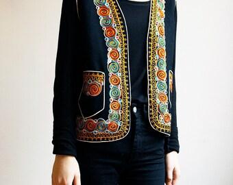 Hippie Ethnic Embroidered Folk Vest 70s Boho