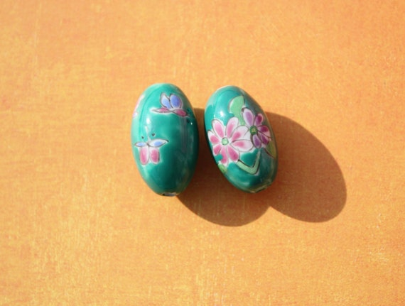 Hand Painted Large Ceramic Beads in Pottery Style Teal With Flowers, ON SALE