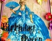 Edible Cake Topper : Marie Antoinette Blue Cake Topper - Fondant Frosting Sheet