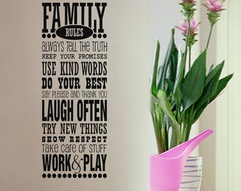 Vinyl Wall Decal - Family Rules - Many Color Choices