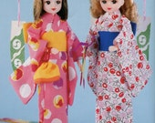 "Yukata & Kimono Sewing Pattern 22cm ( 8.7"" ) Dolls  English templates names and Sewing key included"