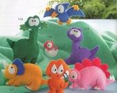 Dino Family 7 Felt Plush Mascot Sewing Pattern PDF