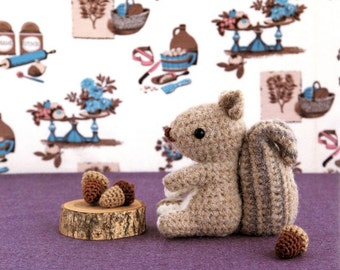 ENGLISH Squirrel and Acorn Amigurumi Plush Crochet Pattern  PDF