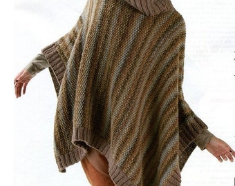 Knitting Pattern For Turtleneck Poncho : ENGLISH Knitting Pattern Turtleneck Poncho PDF