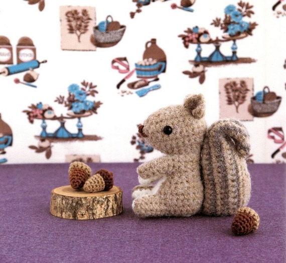 ENGLISH Squirrel and Acorn Amigurumi Plush Crochet Pattern