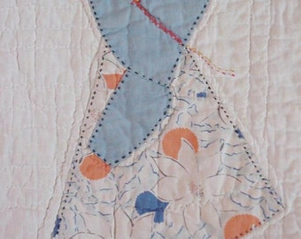 Vintage Sunbonnet Sue Quilt Block, 1930s Prim Sun Bonnet Girl Feedsack Hand Quilted Appliqued Embroidered Old Quilt Block itsyourcountry