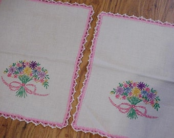Vintage Dresser Scarf, Pair of Pastel Floral Bouquet Hand Embroidered End Table Linens, Shabby Cottage Chic Home Decor itsyourcountry