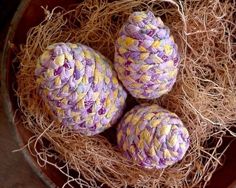 Fabric Easter Eggs, Lavender Yellow Country Farmhouse Spring Wedding Home Decor set of 3 itsyourcountry