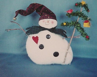 Stuffed Snowman Doll Ornament Pattern Primitive Homespun Hill Craft Pattern itsyourcountry
