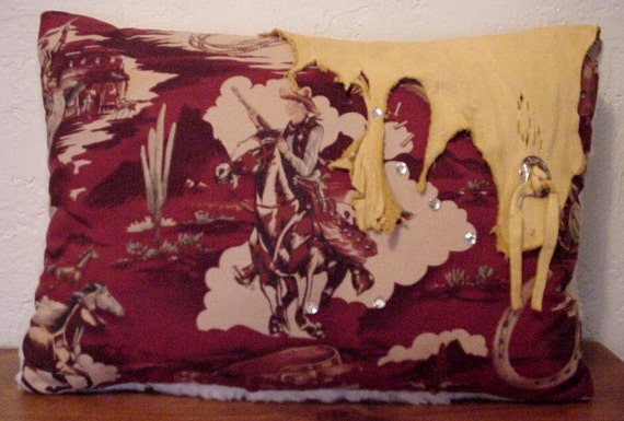 Western Leather Pillow Out on the Range Cowboy Rustic Original OOAK Home Decor Pillow itsyourcountry