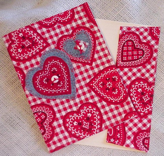 Valentine Greeting Card Red Heart Cowgirl Wedding Bandana Fabric Blank Everyday All Occasion Blank Note Card itsyourcountry