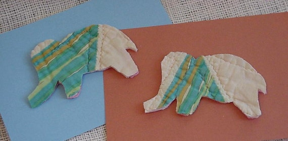 Quilted Elephant Appliques Vintage Patchwork Animal Cutter Quilt Cutouts Prim Shabby Upcycled Fabric Embellishments itsyourcountry