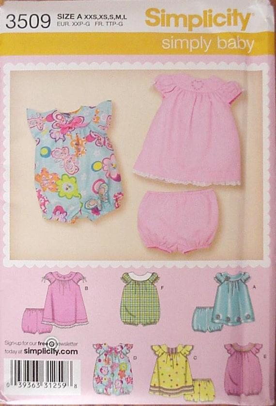 Simplicity 3509 Pattern Babies Baby Girl Dress Panties Romper Original New Uncut Pattern