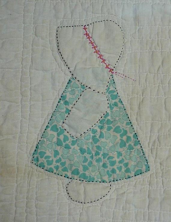 Prim Sunbonnet Sue Quilt Block Antique Hand Appliqued Hand : sunbonnet sue quilt blocks - Adamdwight.com
