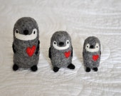 The Love Penguins - Three Handmade Needle Felted Christmas Ornaments - Soft Wool -Miniature Animal Stocking stuffer toy gift