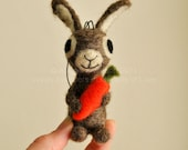 Bunny Rabbit with Carrot -  Ornament - AdoraWools Needle Felted Bunny