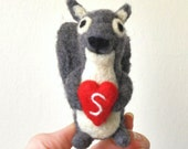 Adorawools -  Love Gray Squirrel - Needle Felted little Buddy - Valentines Day Gift for your Soul Mate