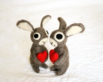 The Love Bunnies - Two 3 Inch Bunny Rabbits with Red Hearts - Adorawools Needle Felted Wedding Cake Toppers and Gifts