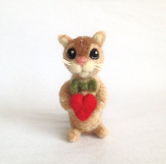 The Love Kitty - Needle Felted 3 Inch Gift - Cake Topper