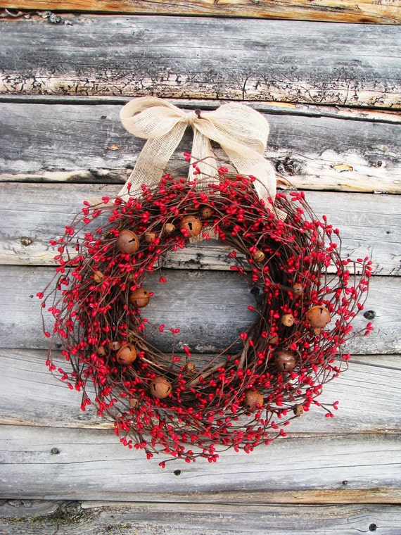 Farmhouse New Years Wreath-Rustic Bell Wreath-PRIMITIVE RED RUSTY Bell Wreath-Primitive Door Wreath-Door Decor-Custom Scented Wreaths-Gifts