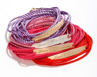 Personalized gift wish bracelet - Name plate - bar bracelet -  cord goldfilled - inspirational bracelet - motivational bracelet