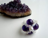 Beaded Amethyst Ring, Purple Pinky Ring, Genuine Semiprecious Beads, Flower Motif, White Pearl, Clear Czech Glass Bead Band, OOAK