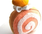Plush Cake Roll: Orange Swiss Roll / Yule Log, Kawaii Felt Cake Slice, Peach Orange Cream, White, Hand Stitched Decoration