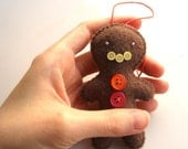 "Gingerbread Man Ornament (Banana): Christmas Plush Food Tree Ornament, Orange x Pink ""Candy"", Brown Gingerbread Man, Hand Sewn"