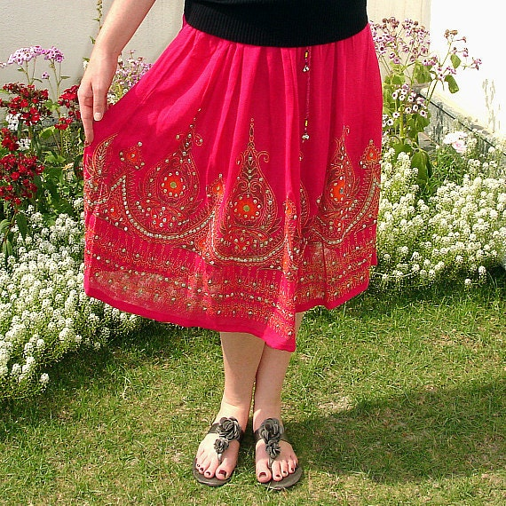 Pink Gypsy Skirt: Knee Length Flowy Bollywood Skirt, Bohemian Indian Midi Skirt, Boho Sequined Floral Crinkled Cover Up