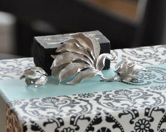 CORO BROOCH and EARRINGS  Silver Leaves