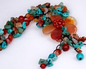 Carved Agate&Carnelian Necklace16in