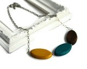 Mustard Yellow Necklace - Teal Necklace - Minimalist Jewelry - Chunky Bead Necklace - Everyday Jewelry - Turquoise Necklace - Fall Outfit